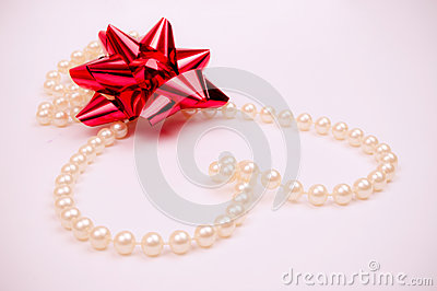 Pearls heart and red bow