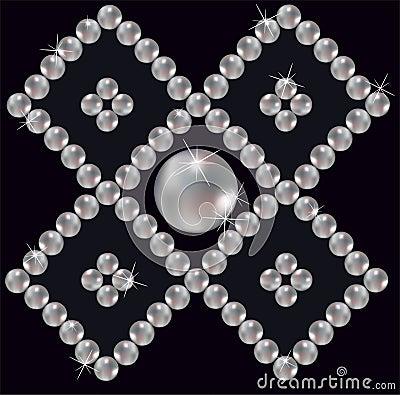 Pearls inlaid ornament in rhomb.