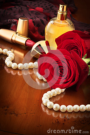 Pearls And Red Roses