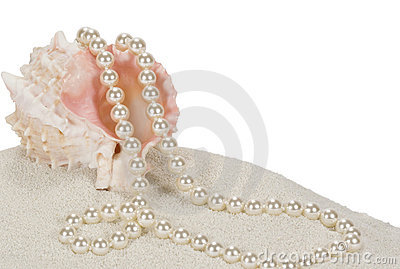 Pearls and Seashell on Sand