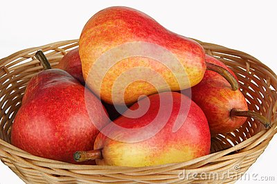 Pears in basket