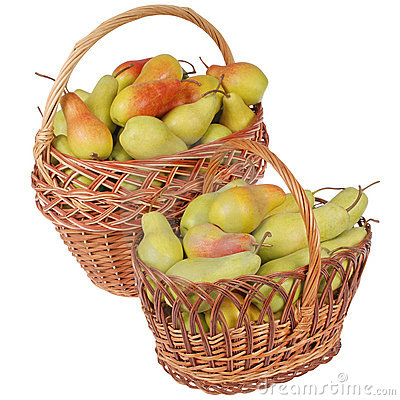 Pears in a basket on white