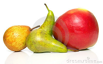 Pears and ripe red apple 2