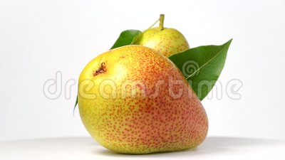 Pears rotating on white. Background stock footage