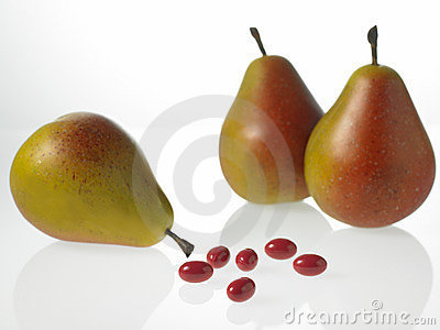 Pears and vitamin tablets