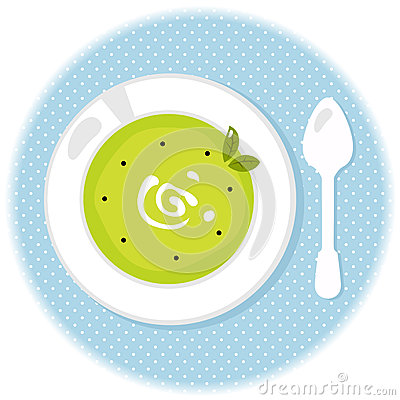 Peas green soup in circle