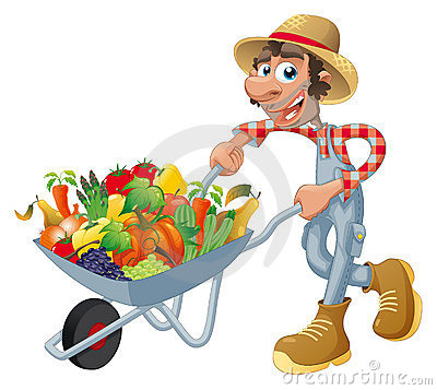 Free Peasant With Wheelbarrow, Vegetables And Fruits. Royalty Free Stock Photos - 16282578