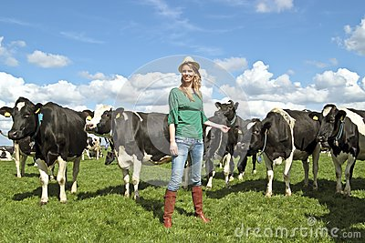 Peasant woman and her cows