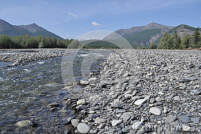 Pebble Bank of a mountain river.