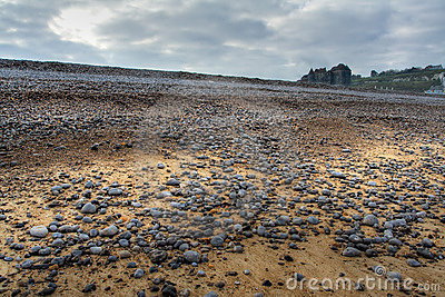 Pebble beach and a castle of Dieppe in Normandy