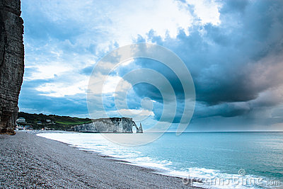 Pebble beach in Normandy coast in France