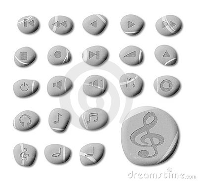 Free Pebble Music And Audio Web Icons Royalty Free Stock Image - 16128736