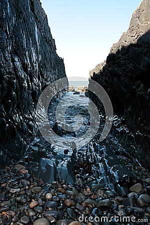 Pebble rock ravine