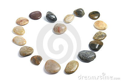 Pebbles Arranged in Shape of Heart