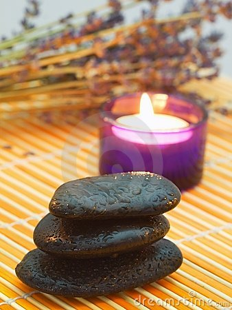 Free Pebbles, Candle And Lavender. Stock Images - 7710094