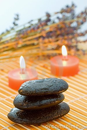 Free Pebbles, Candle And Lavender. Stock Photos - 7710103