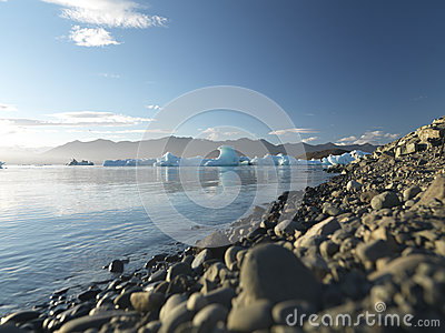 Pebbles with Glacier in the background