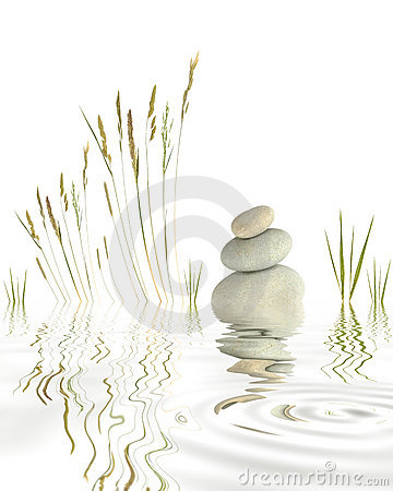 Pebbles, Grasses and Bamboo