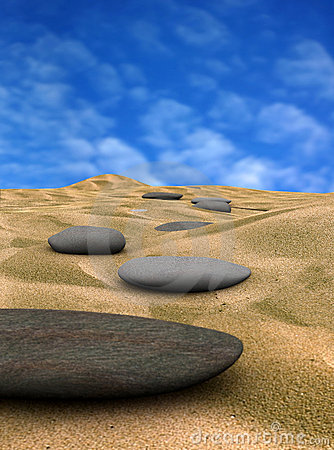 Pebbles on sand 2  (3d render)