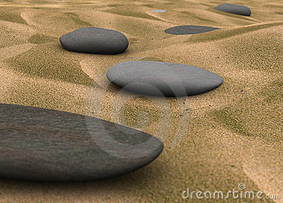 Pebbles on sand - 3d Render