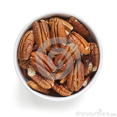 Pecans in Bowl over White Overhead View