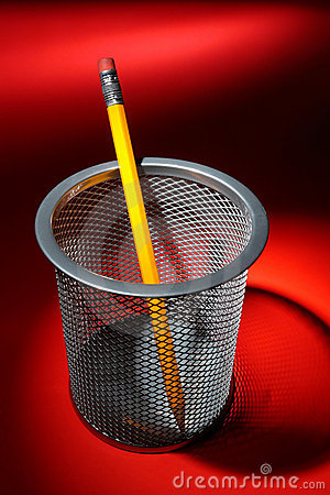 Pecncil in Wire Mesh Cup Holder