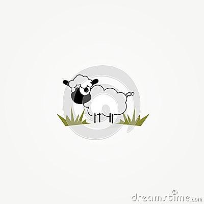 Pecore del fumetto nella zona dell erba