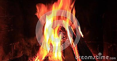 Pedaços de madeira queimados e brilhantes em Fireplace vídeos de arquivo