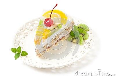 Pedazo de la torta de la fruta