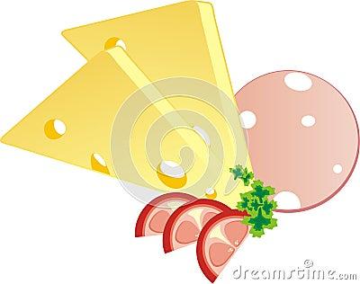 Pedazo de un queso, de una salchicha y de un tomate con perejil