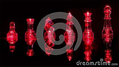 Pedazos de ajedrez rojos