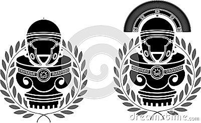 Pedestals of roman helmets