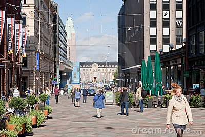 Pedestrian area in Helsinki, Finland Editorial Photo