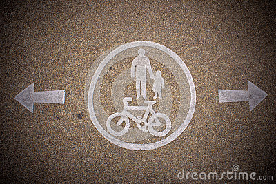 Pedestrian and bicycle dedicated lane signs