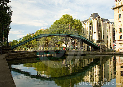 Pedestrian bridge over Saint-Martin canal in Paris