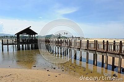Pedestrian bridge on sea