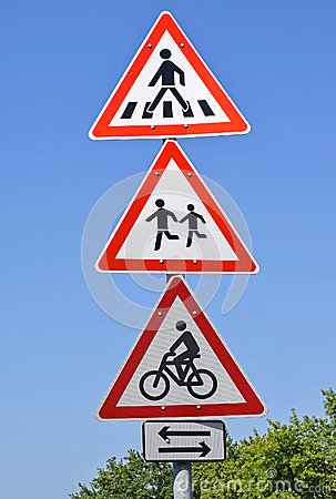 Free Pedestrian Crossing And Bicycle Road Signs Stock Images - 59386834