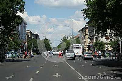 Pedestrian crossing in Budapest Editorial Photo