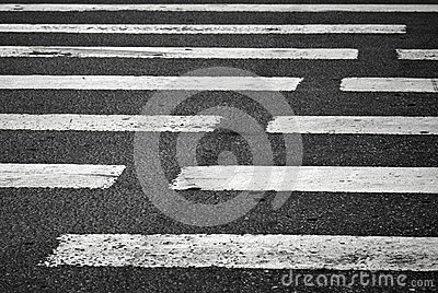 Pedestrian crossing with road marking