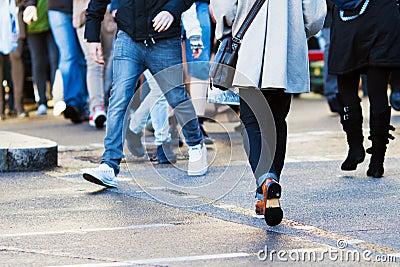 Pedestrian crossing the street