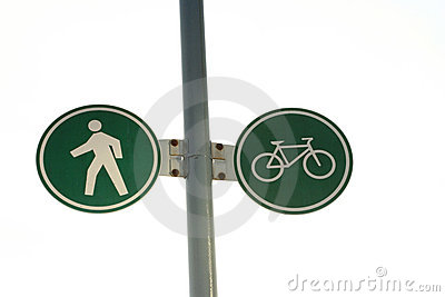 Pedestrian and cycling lane sign