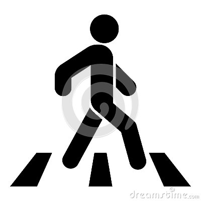 Free Pedestrian On Zebra Crossing Icon Black Color Illustration Flat Style Simple Image Royalty Free Stock Photos - 112487878