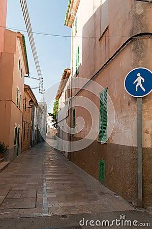Pedestrian road in usual european city