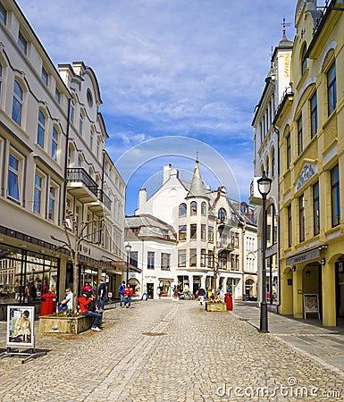 Pedestrian Street, Alesund Norway Editorial Photo