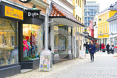 Pedestrian Shopping Street, Bergen Norway Editorial Photography
