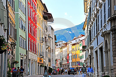 Pedestrian street in Trento, Italy Editorial Stock Photo