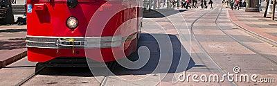Pedestrian Corsswalk Trolley Stopped San Francisco