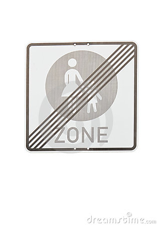 Pedestrian zone end sign