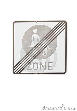 Pedestrian zone end sign