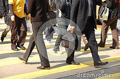 Pedestrians crossing street